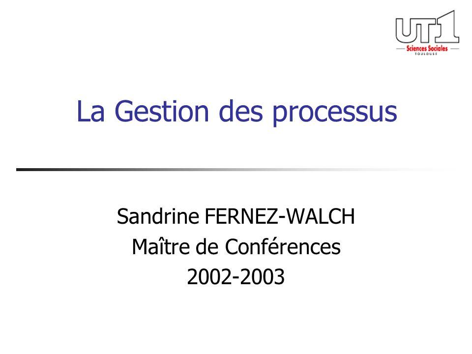 La Gestion des processus Sandrine FERNEZ-WALCH Maître de Conférences 2002-2003