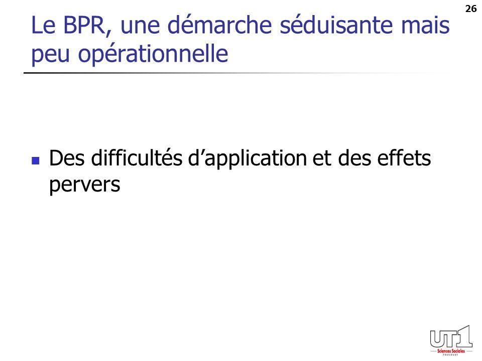 26 Le BPR, une démarche séduisante mais peu opérationnelle Des difficultés dapplication et des effets pervers