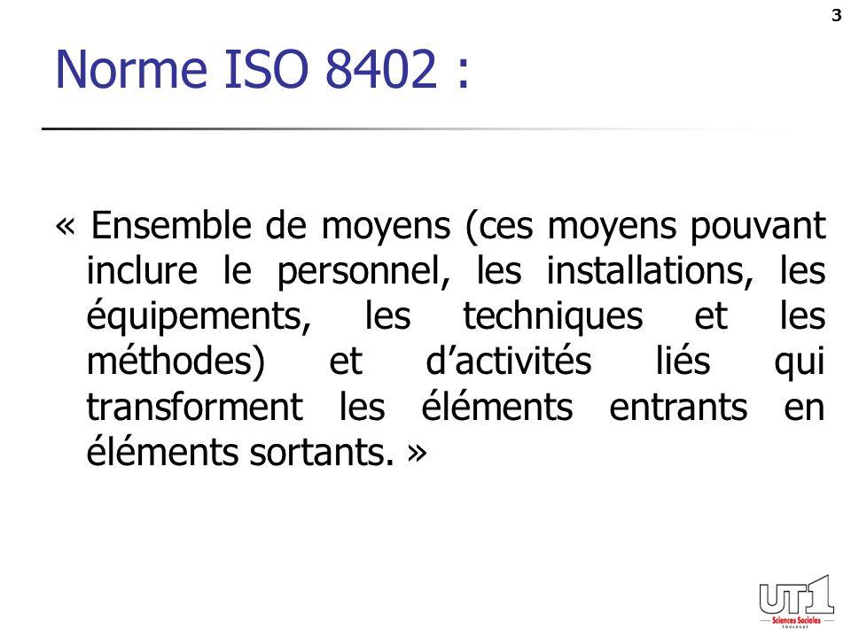 3 Norme ISO 8402 : « Ensemble de moyens (ces moyens pouvant inclure le personnel, les installations, les équipements, les techniques et les méthodes) et dactivités liés qui transforment les éléments entrants en éléments sortants.
