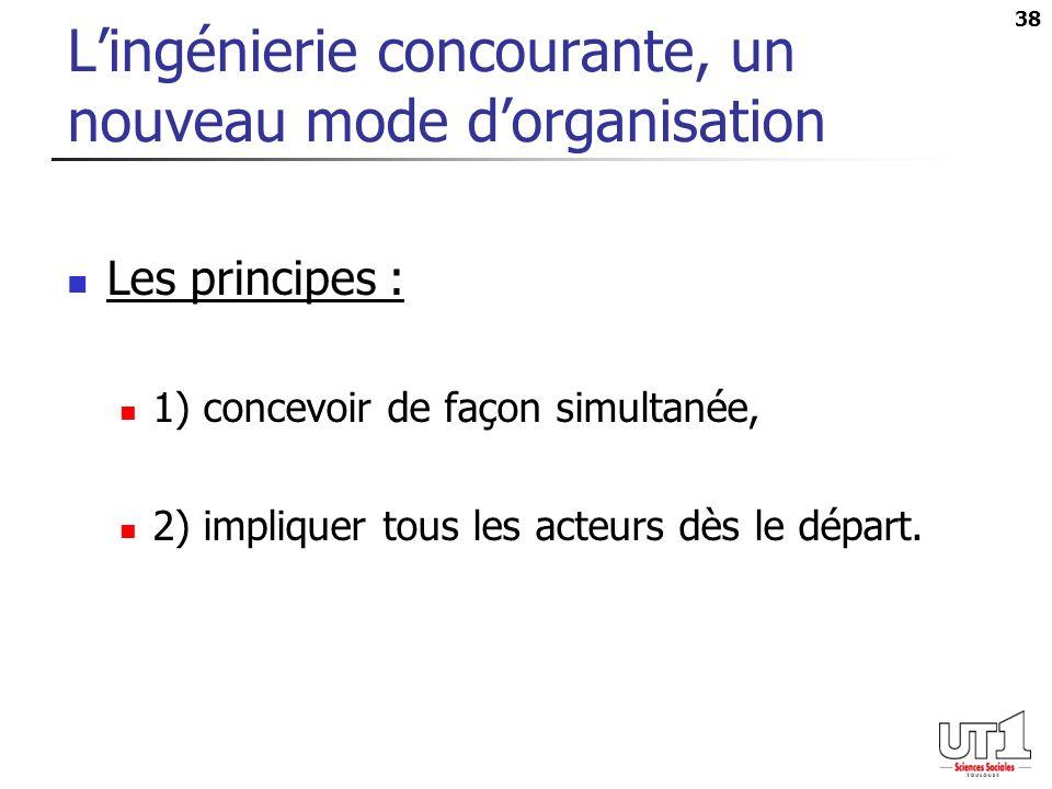 38 Lingénierie concourante, un nouveau mode dorganisation Les principes : 1) concevoir de façon simultanée, 2) impliquer tous les acteurs dès le départ.