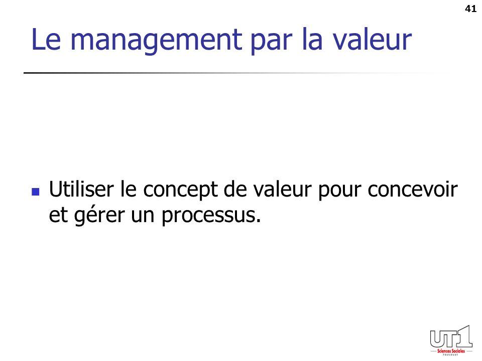 41 Le management par la valeur Utiliser le concept de valeur pour concevoir et gérer un processus.