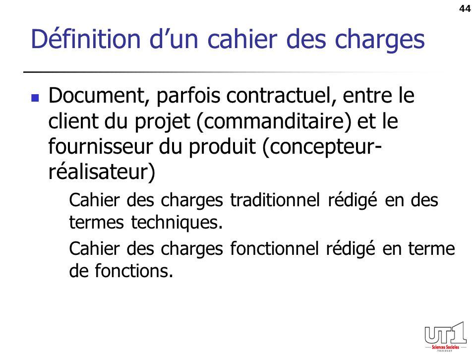 44 Définition dun cahier des charges Document, parfois contractuel, entre le client du projet (commanditaire) et le fournisseur du produit (concepteur- réalisateur) Cahier des charges traditionnel rédigé en des termes techniques.