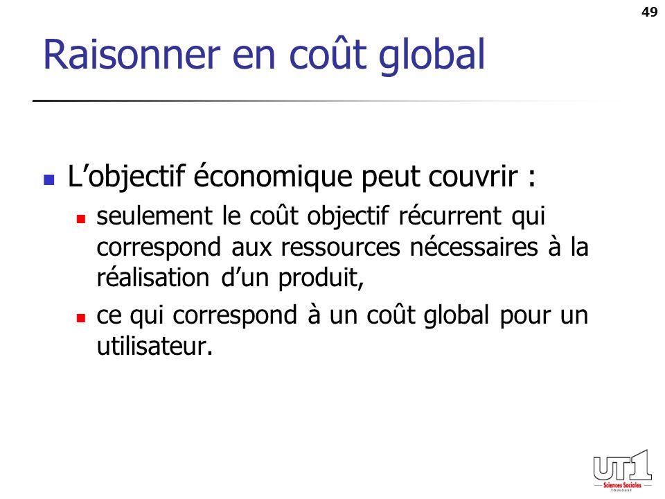 49 Raisonner en coût global Lobjectif économique peut couvrir : seulement le coût objectif récurrent qui correspond aux ressources nécessaires à la réalisation dun produit, ce qui correspond à un coût global pour un utilisateur.