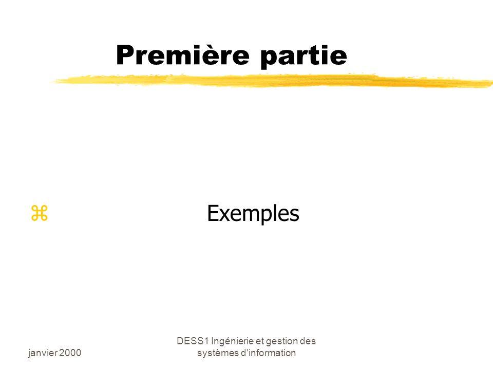 janvier 2000 DESS1 Ingénierie et gestion des systèmes d information Première partie z Exemples