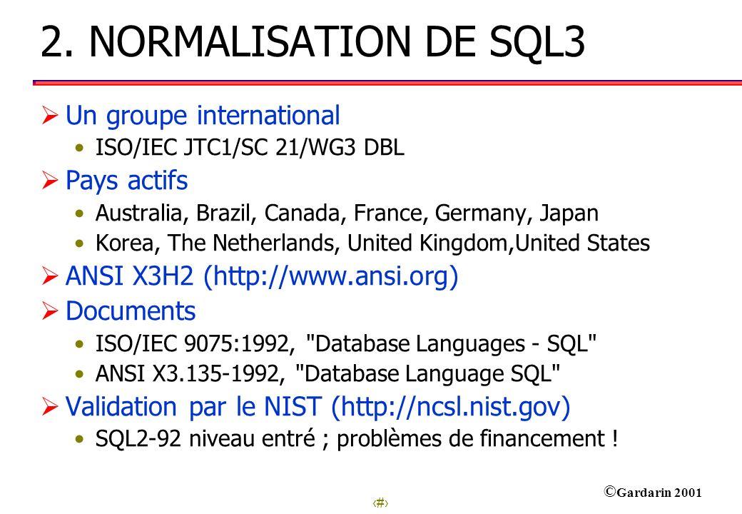 11 © Gardarin 2001 Les composants Part 1: Framework Une description non-technique de comment le document est structuré.