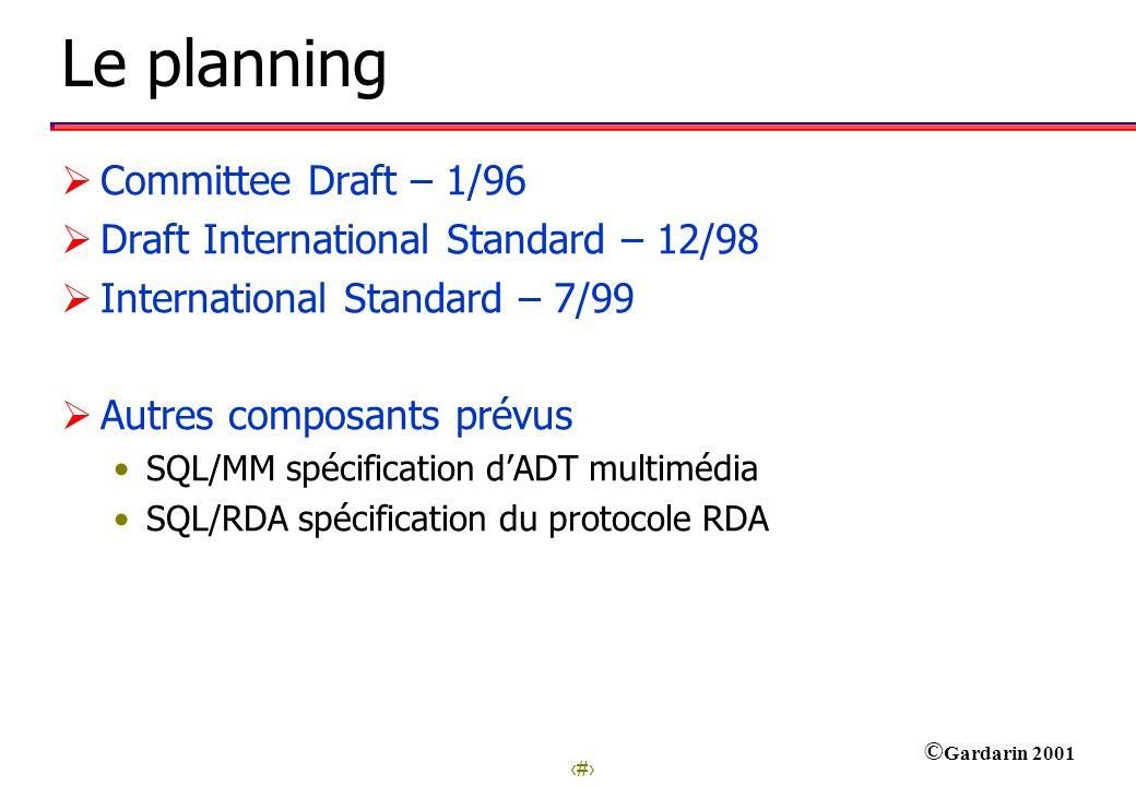12 © Gardarin 2001 Le planning Committee Draft – 1/96 Draft International Standard – 12/98 International Standard – 7/99 Autres composants prévus SQL/