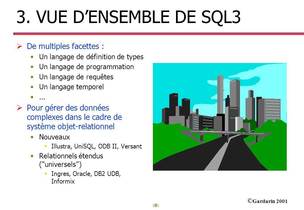 13 © Gardarin 2001 3. VUE DENSEMBLE DE SQL3 De multiples facettes : Un langage de définition de types Un langage de programmation Un langage de requêt