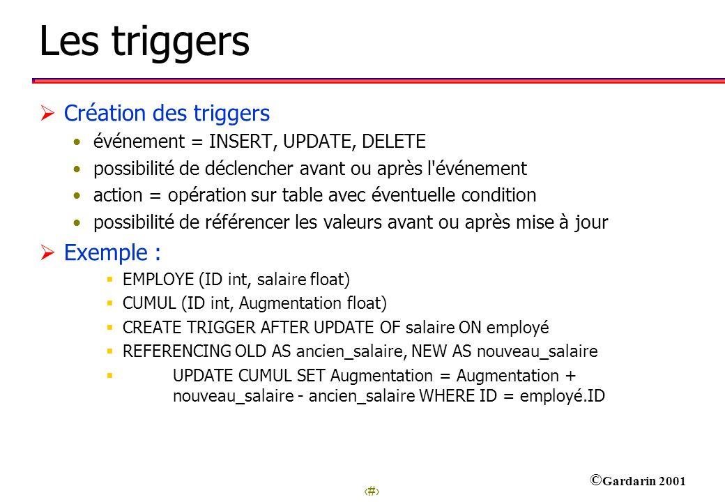 15 © Gardarin 2001 Les triggers Création des triggers événement = INSERT, UPDATE, DELETE possibilité de déclencher avant ou après l'événement action =