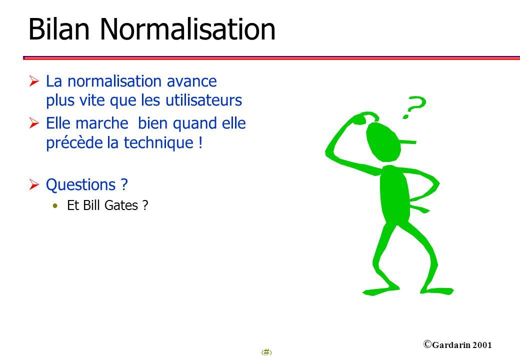 17 © Gardarin 2001 Bilan Normalisation La normalisation avance plus vite que les utilisateurs Elle marche bien quand elle précède la technique ! Quest