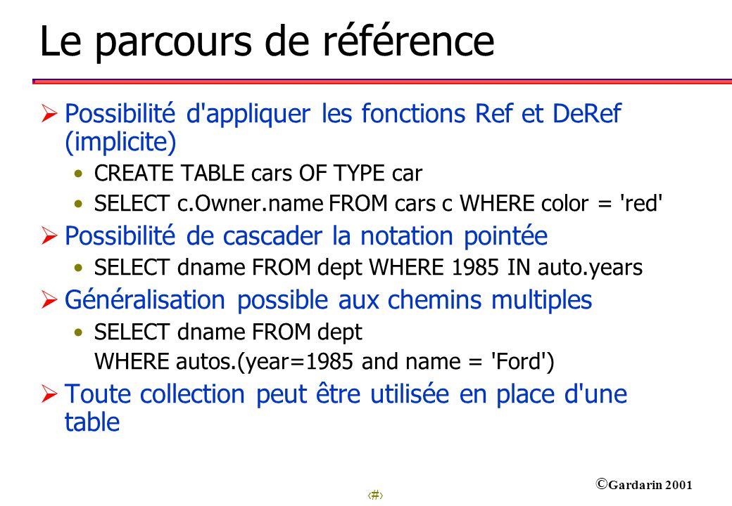 25 © Gardarin 2001 Le parcours de référence Possibilité d'appliquer les fonctions Ref et DeRef (implicite) CREATE TABLE cars OF TYPE car SELECT c.Owne