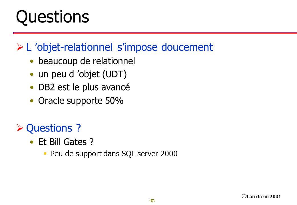 32 © Gardarin 2001 Questions L objet-relationnel simpose doucement beaucoup de relationnel un peu d objet (UDT) DB2 est le plus avancé Oracle supporte