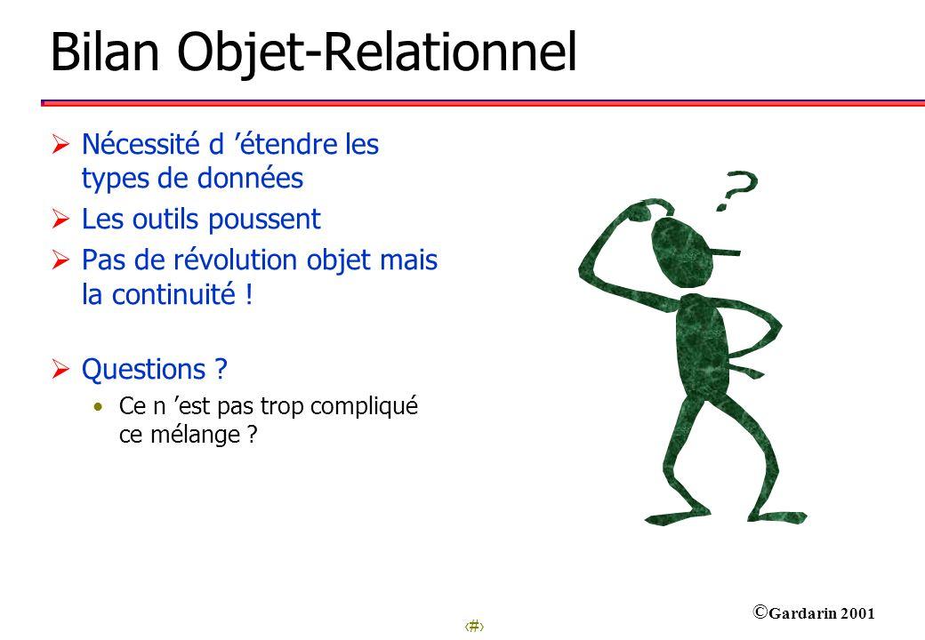 9 © Gardarin 2001 Bilan Objet-Relationnel Nécessité d étendre les types de données Les outils poussent Pas de révolution objet mais la continuité ! Qu