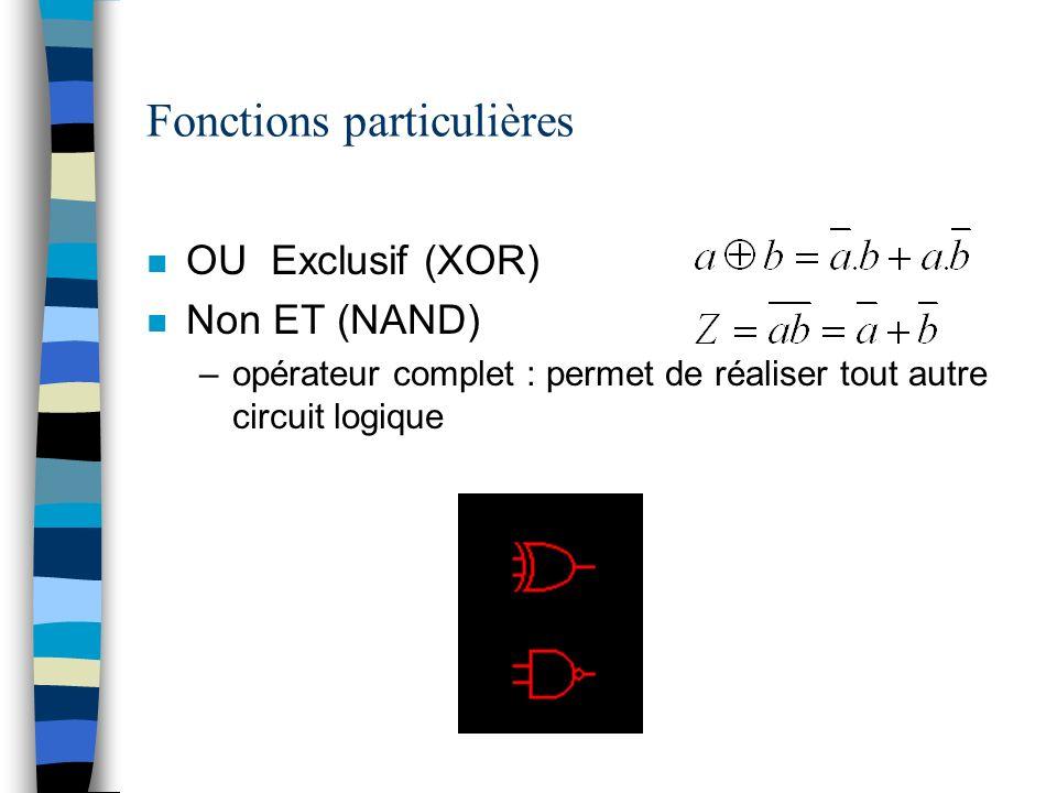 Fonctions particulières n OU Exclusif (XOR) n Non ET (NAND) –opérateur complet : permet de réaliser tout autre circuit logique