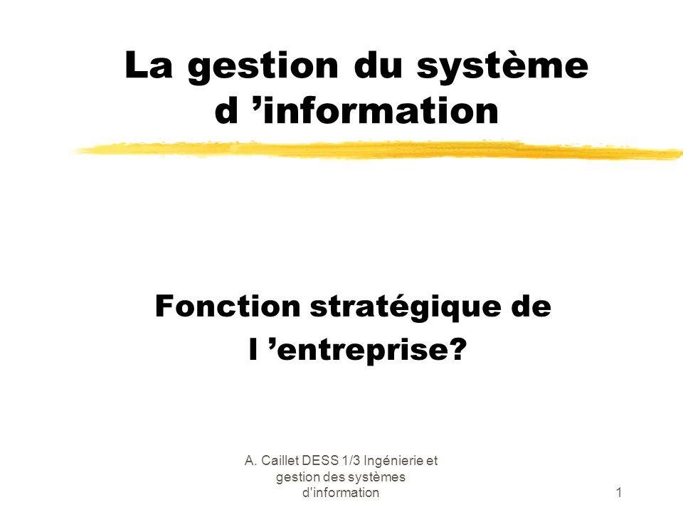 A. Caillet DESS 1/3 Ingénierie et gestion des systèmes d'information1 La gestion du système d information Fonction stratégique de l entreprise?