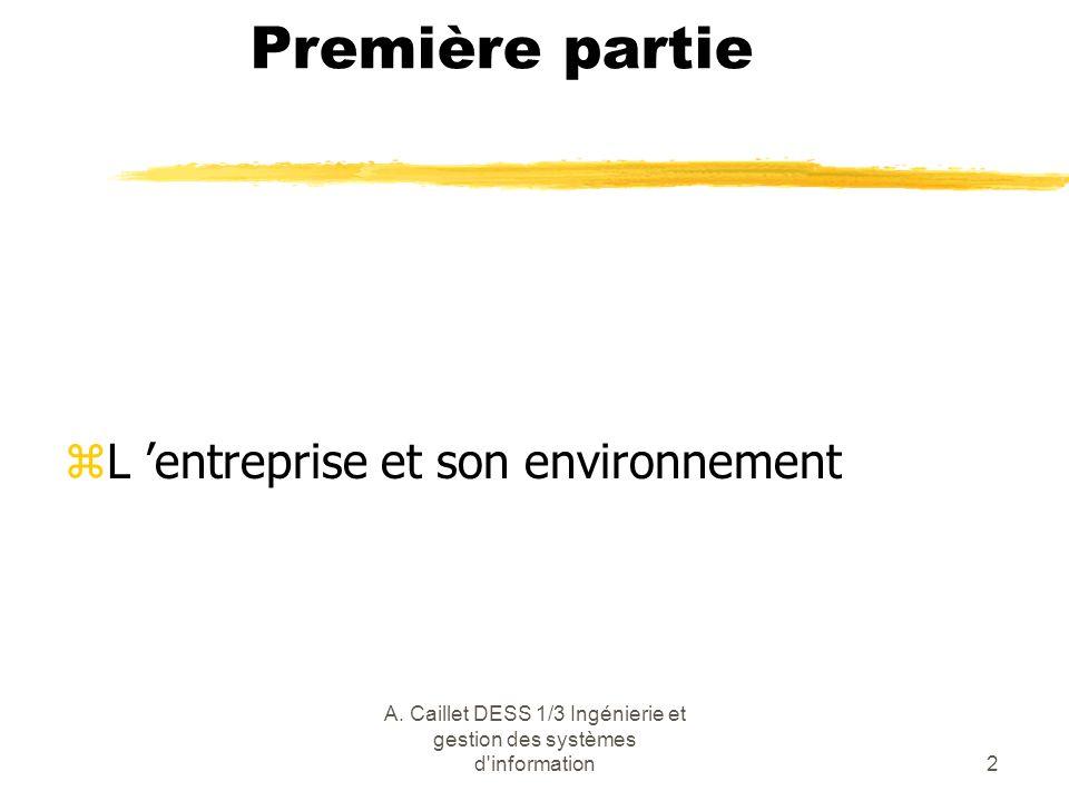A. Caillet DESS 1/3 Ingénierie et gestion des systèmes d'information2 Première partie zL entreprise et son environnement