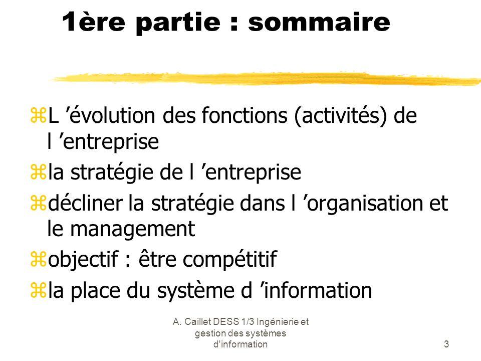 A. Caillet DESS 1/3 Ingénierie et gestion des systèmes d'information3 1ère partie : sommaire zL évolution des fonctions (activités) de l entreprise zl