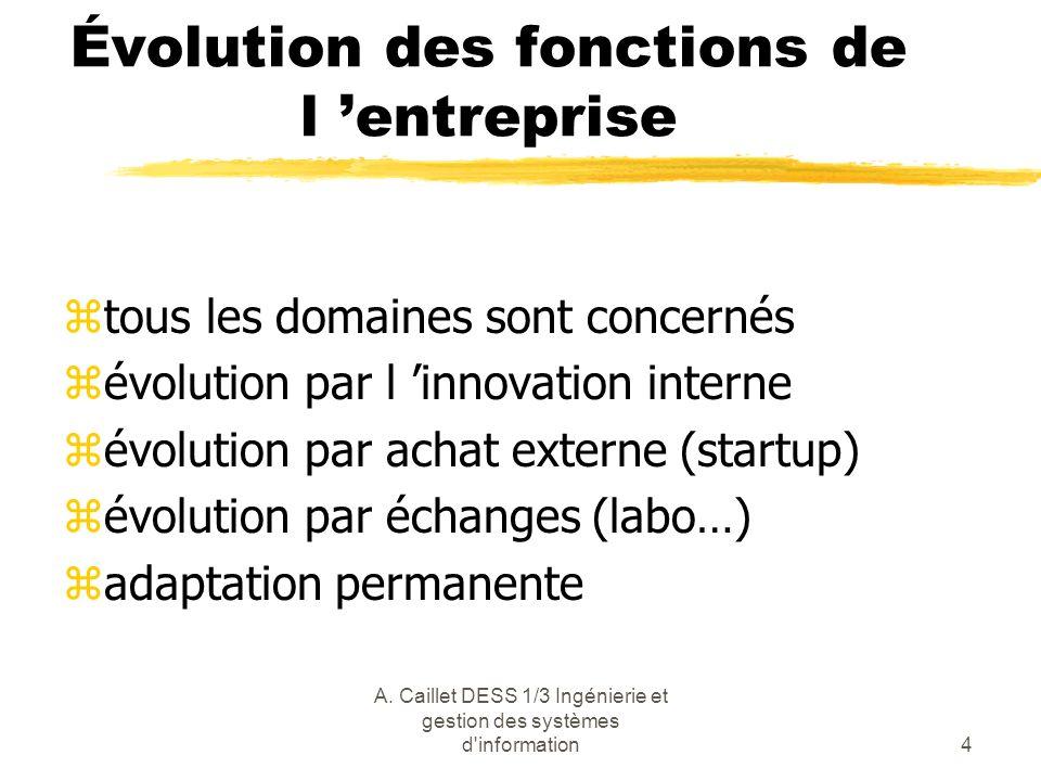 A. Caillet DESS 1/3 Ingénierie et gestion des systèmes d'information4 Évolution des fonctions de l entreprise ztous les domaines sont concernés zévolu