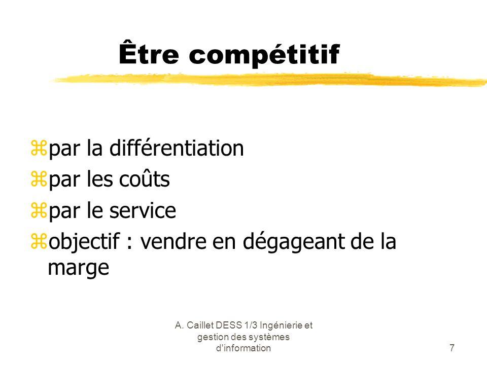 A. Caillet DESS 1/3 Ingénierie et gestion des systèmes d'information7 Être compétitif zpar la différentiation zpar les coûts zpar le service zobjectif