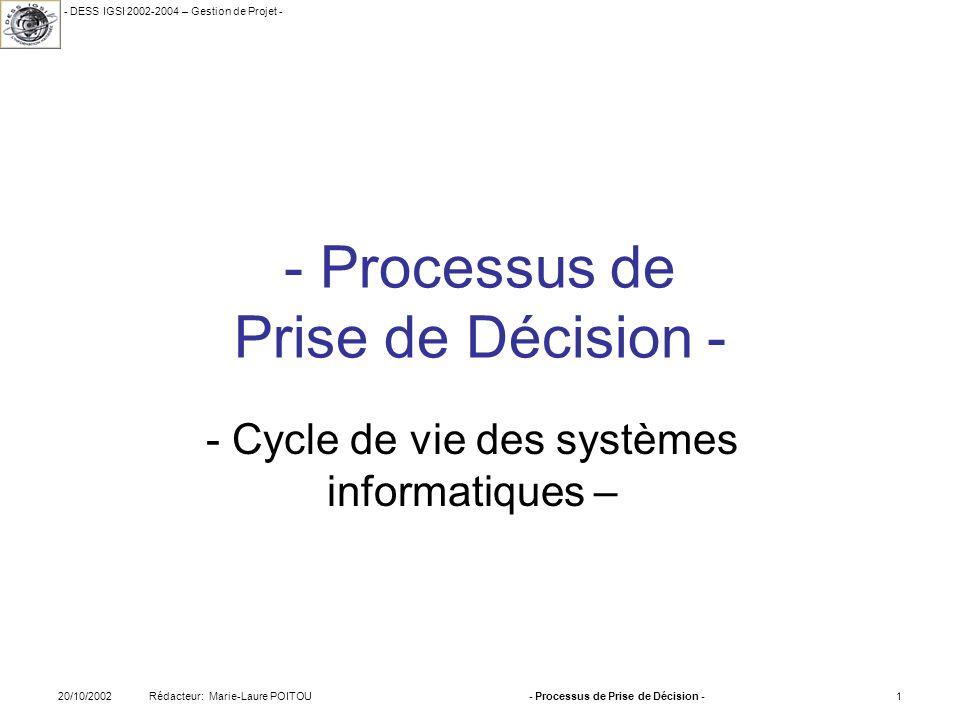 - DESS IGSI 2002-2004 – Gestion de Projet - Rédacteur: Marie-Laure POITOU20/10/2002- Processus de Prise de Décision -12 2.