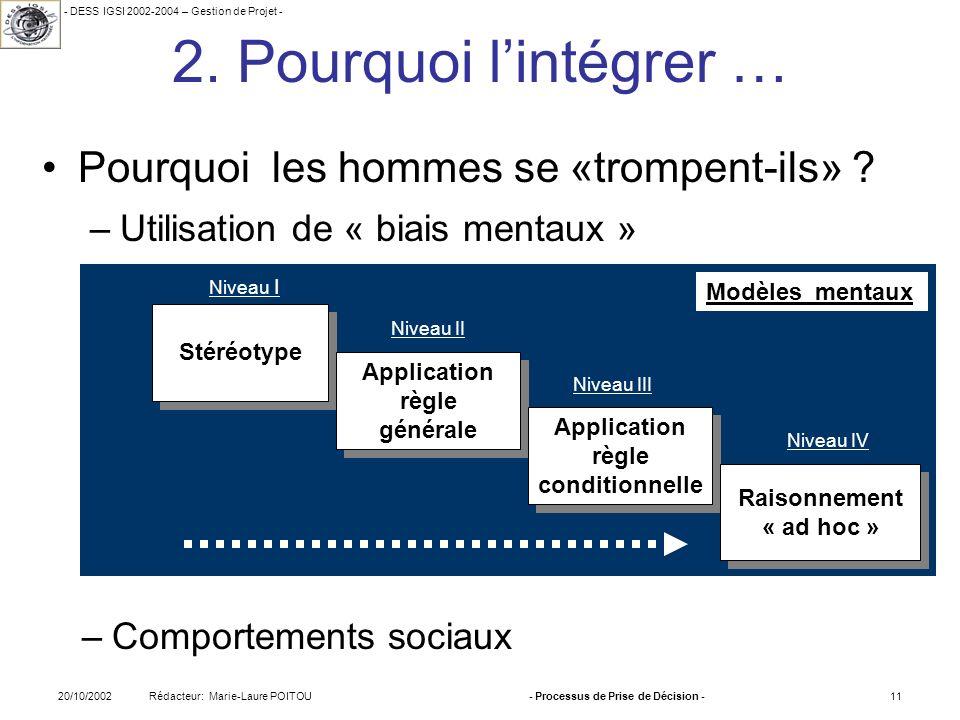 - DESS IGSI 2002-2004 – Gestion de Projet - Rédacteur: Marie-Laure POITOU20/10/2002- Processus de Prise de Décision -11 Modèles mentaux 2. Pourquoi li
