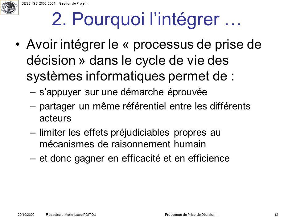 - DESS IGSI 2002-2004 – Gestion de Projet - Rédacteur: Marie-Laure POITOU20/10/2002- Processus de Prise de Décision -12 2. Pourquoi lintégrer … Avoir