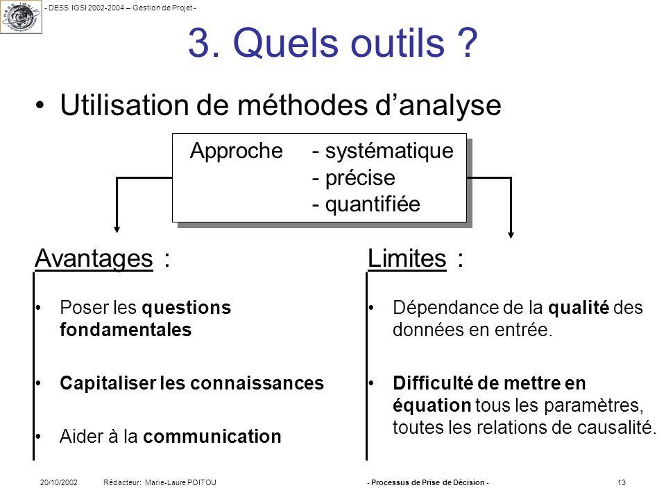 - DESS IGSI 2002-2004 – Gestion de Projet - Rédacteur: Marie-Laure POITOU20/10/2002- Processus de Prise de Décision -13 3. Quels outils ? Approche - s