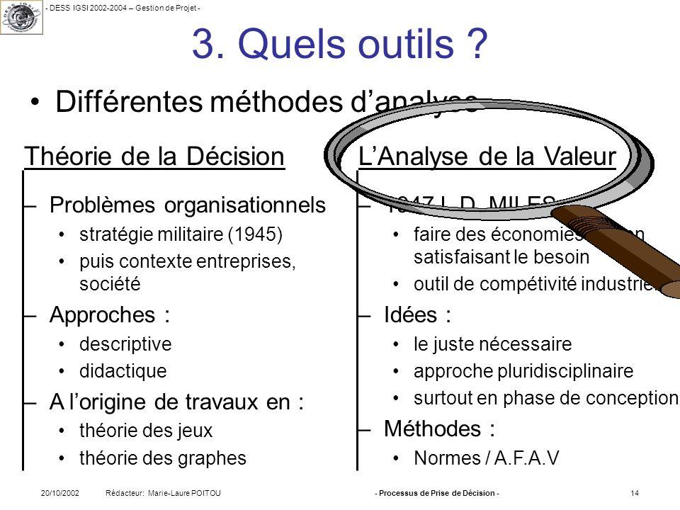 - DESS IGSI 2002-2004 – Gestion de Projet - Rédacteur: Marie-Laure POITOU20/10/2002- Processus de Prise de Décision -14 3. Quels outils ? Différentes