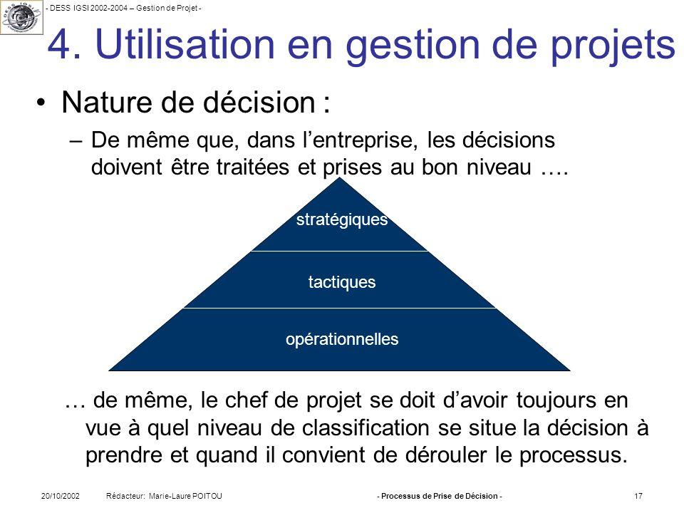 - DESS IGSI 2002-2004 – Gestion de Projet - Rédacteur: Marie-Laure POITOU20/10/2002- Processus de Prise de Décision -17 4. Utilisation en gestion de p