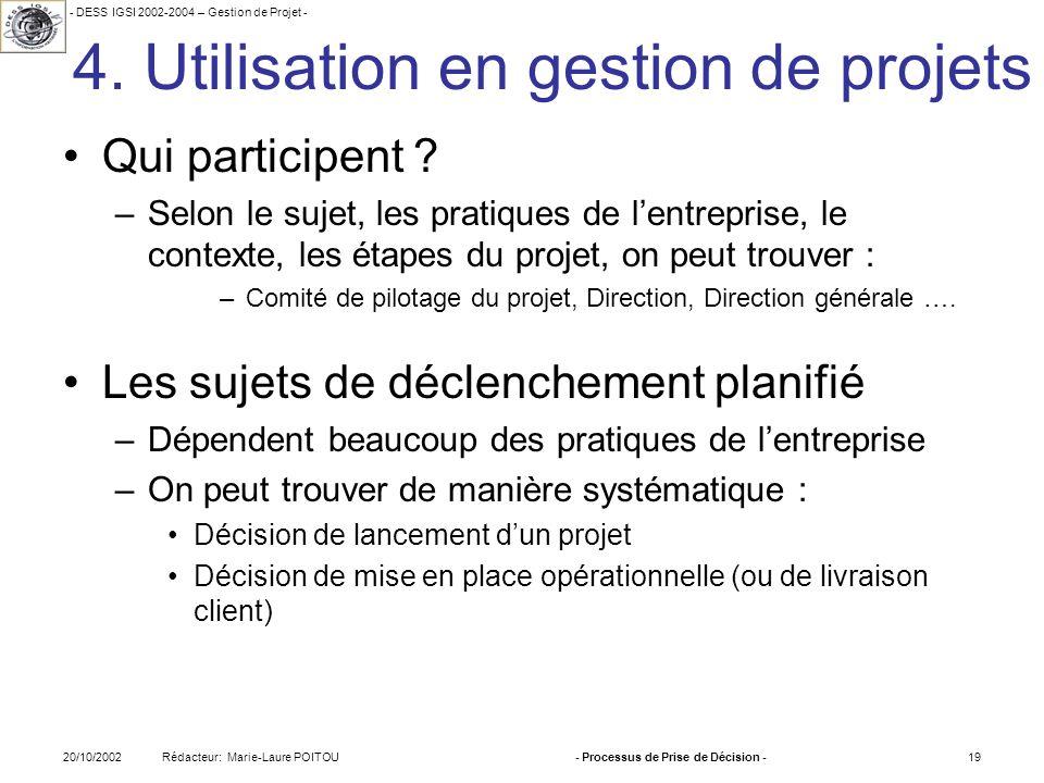 - DESS IGSI 2002-2004 – Gestion de Projet - Rédacteur: Marie-Laure POITOU20/10/2002- Processus de Prise de Décision -19 4. Utilisation en gestion de p