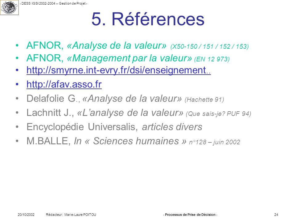 - DESS IGSI 2002-2004 – Gestion de Projet - Rédacteur: Marie-Laure POITOU20/10/2002- Processus de Prise de Décision -24 5. Références AFNOR, «Analyse