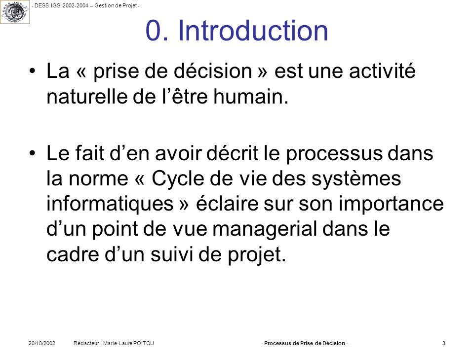 - DESS IGSI 2002-2004 – Gestion de Projet - Rédacteur: Marie-Laure POITOU20/10/2002- Processus de Prise de Décision -3 0. Introduction La « prise de d