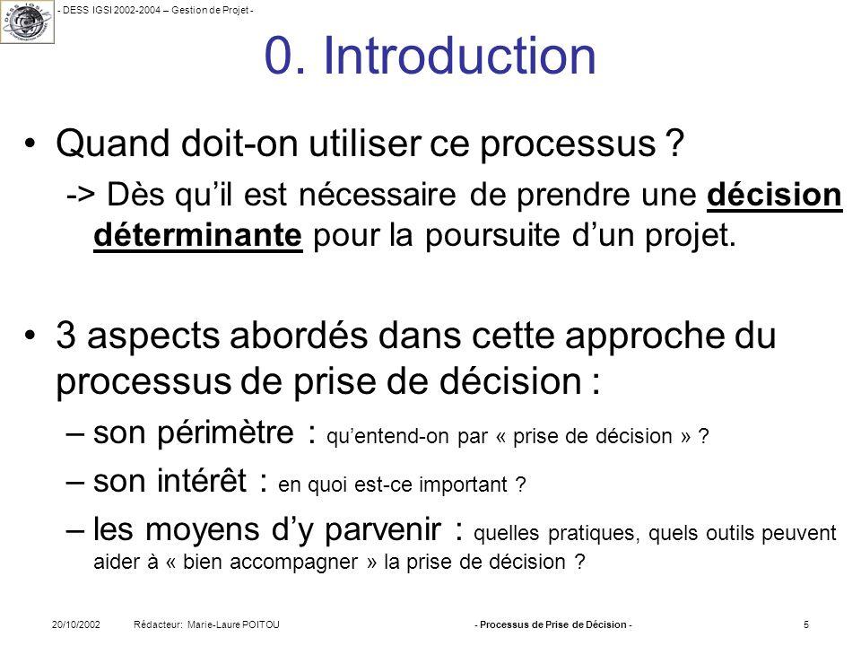 - DESS IGSI 2002-2004 – Gestion de Projet - Rédacteur: Marie-Laure POITOU20/10/2002- Processus de Prise de Décision -5 0. Introduction Quand doit-on u