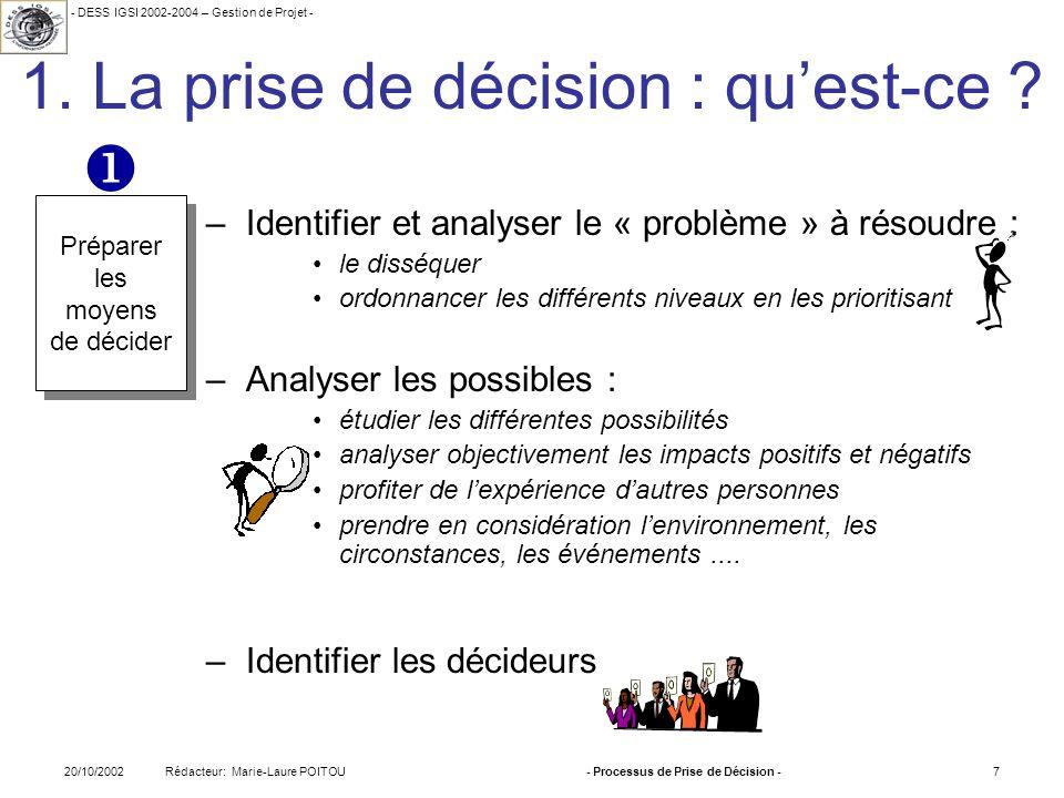- DESS IGSI 2002-2004 – Gestion de Projet - Rédacteur: Marie-Laure POITOU20/10/2002- Processus de Prise de Décision -7 1. La prise de décision : quest