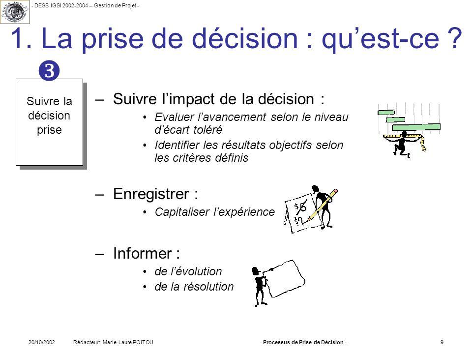 - DESS IGSI 2002-2004 – Gestion de Projet - Rédacteur: Marie-Laure POITOU20/10/2002- Processus de Prise de Décision -9 1. La prise de décision : quest
