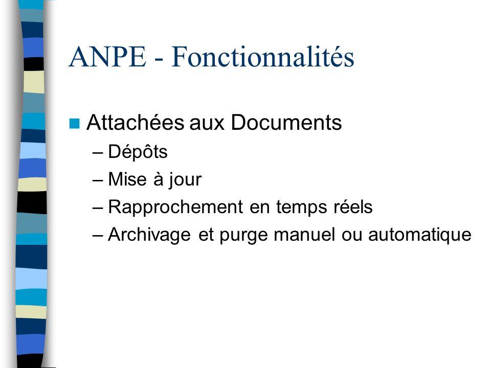 ANPE - Fonctionnalités Attachées aux Documents –Dépôts –Mise à jour –Rapprochement en temps réels –Archivage et purge manuel ou automatique