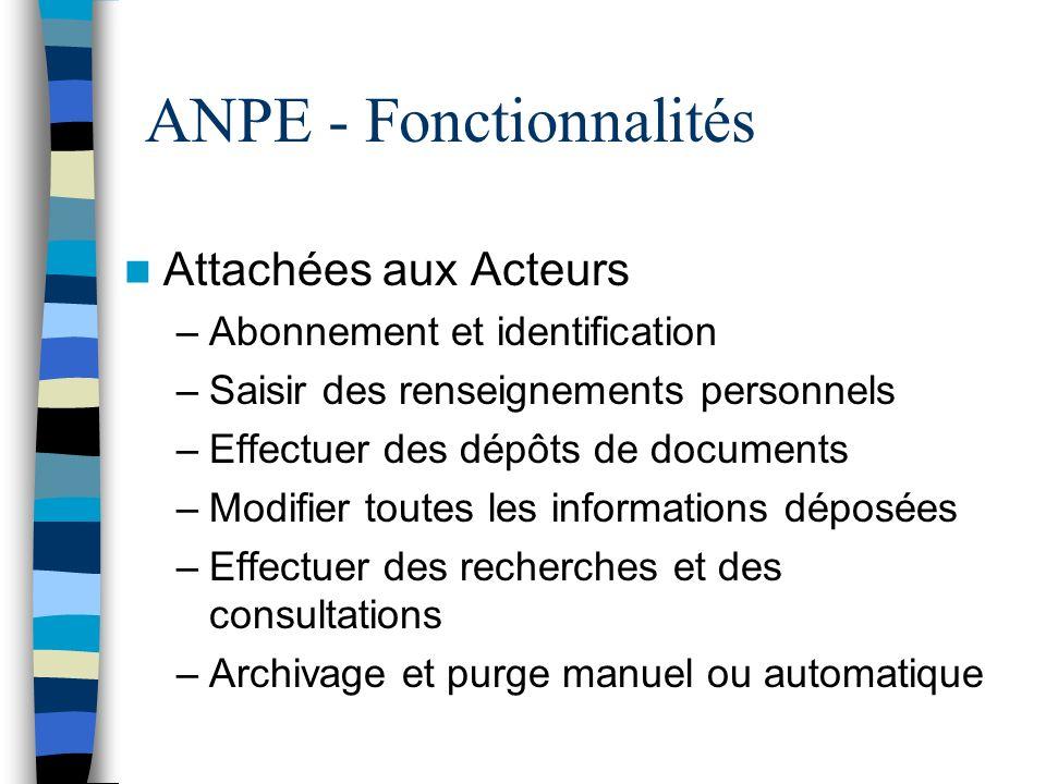 ANPE - Fonctionnalités Attachées aux Acteurs –Abonnement et identification –Saisir des renseignements personnels –Effectuer des dépôts de documents –M
