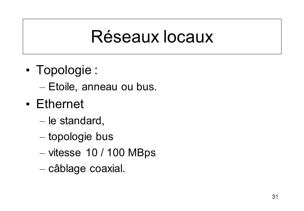 31 Réseaux locaux Topologie : – Etoile, anneau ou bus. Ethernet – le standard, – topologie bus – vitesse 10 / 100 MBps – câblage coaxial.