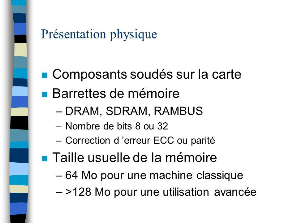 Présentation physique n Composants soudés sur la carte n Barrettes de mémoire –DRAM, SDRAM, RAMBUS –Nombre de bits 8 ou 32 –Correction d erreur ECC ou