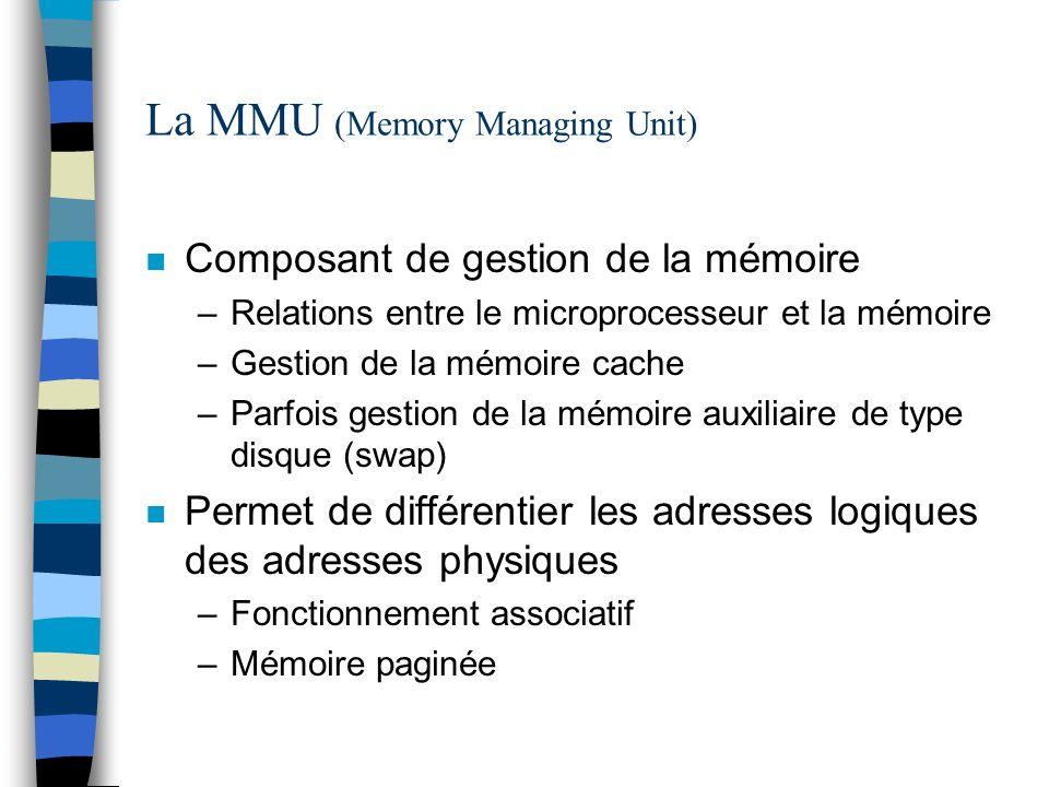 La MMU (Memory Managing Unit) n Composant de gestion de la mémoire –Relations entre le microprocesseur et la mémoire –Gestion de la mémoire cache –Par