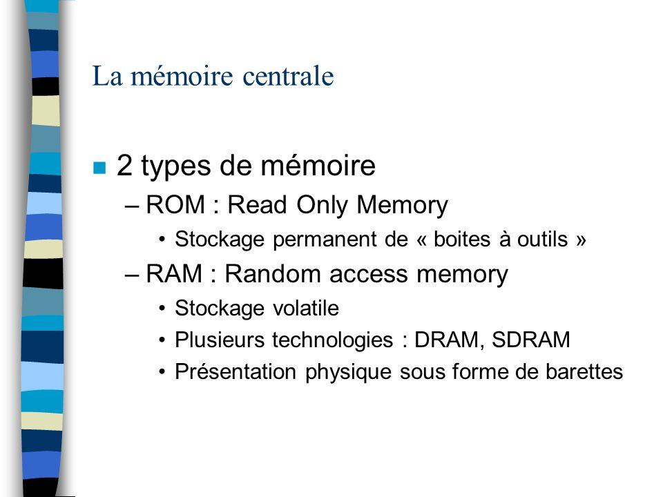 La mémoire centrale n 2 types de mémoire –ROM : Read Only Memory Stockage permanent de « boites à outils » –RAM : Random access memory Stockage volati