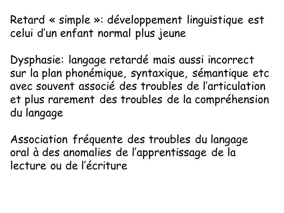 Retard « simple »: développement linguistique est celui dun enfant normal plus jeune Dysphasie: langage retardé mais aussi incorrect sur la plan phoné