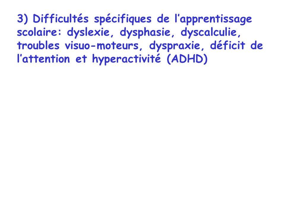 3) Difficultés spécifiques de lapprentissage scolaire: dyslexie, dysphasie, dyscalculie, troubles visuo-moteurs, dyspraxie, déficit de lattention et h