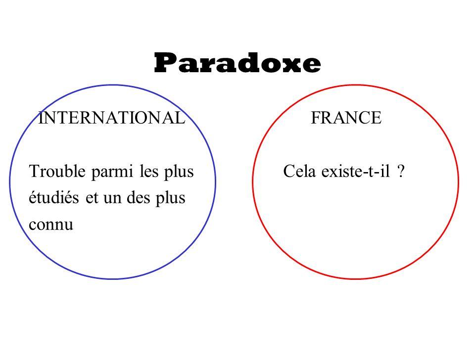 Paradoxe INTERNATIONAL Trouble parmi les plus étudiés et un des plus connu FRANCE Cela existe-t-il ?