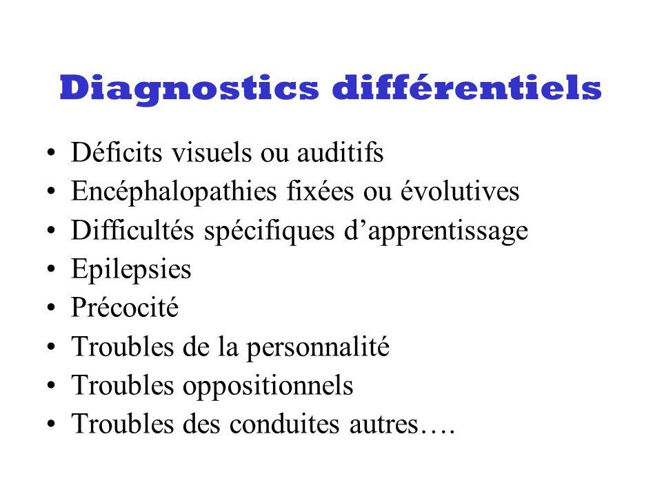 Diagnostics différentiels Déficits visuels ou auditifs Encéphalopathies fixées ou évolutives Difficultés spécifiques dapprentissage Epilepsies Précoci