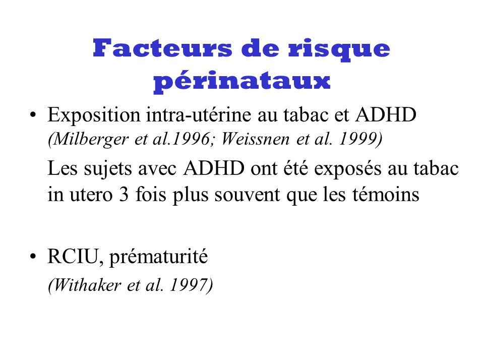 Facteurs de risque périnataux Exposition intra-utérine au tabac et ADHD (Milberger et al.1996; Weissnen et al. 1999) Les sujets avec ADHD ont été expo