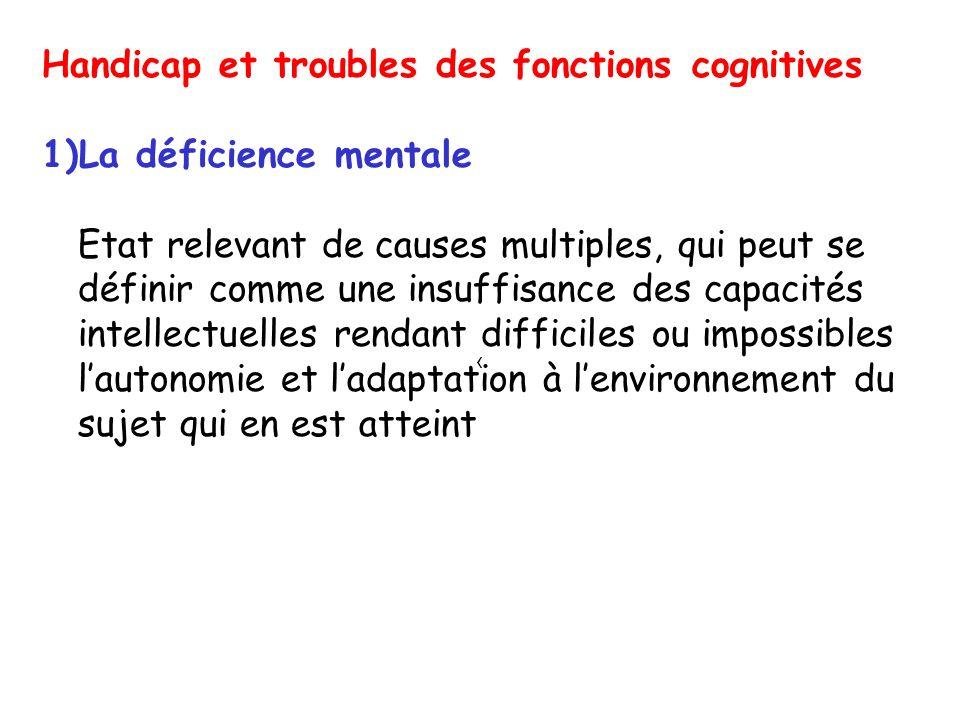 Les performances intellectuelles sont considérées comme insuffisantes lorsquelles sont à -2DS au dessous de la moyenne aux tests psychométriques (QI70) Déficience mentale légère 50 QI< 70 souvent isolée Déficience mentale sévère ou profonde QI< 50 souvent associée à dautres handicaps Prévalence de la déficience mentale dans la population est de 2-3% (certaines études plus récentes 1-2%), déficience mentale profonde (0,3-0,4%)