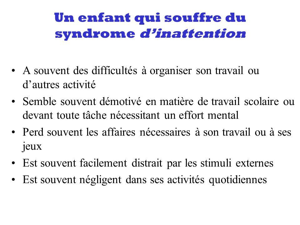 Un enfant qui souffre du syndrome dinattention A souvent des difficultés à organiser son travail ou dautres activité Semble souvent démotivé en matièr