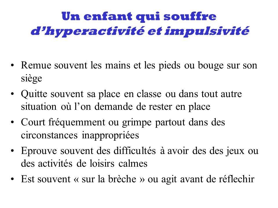 Un enfant qui souffre dhyperactivité et impulsivité Remue souvent les mains et les pieds ou bouge sur son siège Quitte souvent sa place en classe ou d