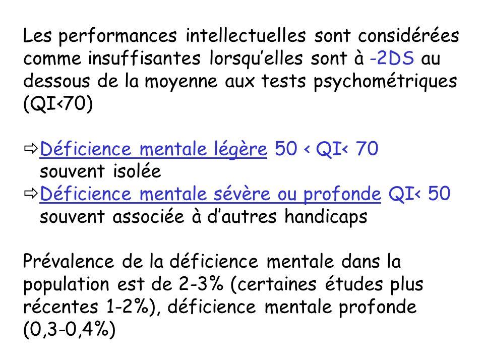 Les performances intellectuelles sont considérées comme insuffisantes lorsquelles sont à -2DS au dessous de la moyenne aux tests psychométriques (QI70