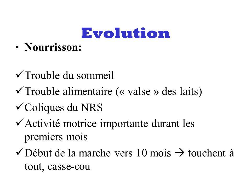 Evolution Nourrisson: Trouble du sommeil Trouble alimentaire (« valse » des laits) Coliques du NRS Activité motrice importante durant les premiers moi